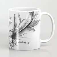 antlers Mugs featuring Antlers by Robyn Marshall