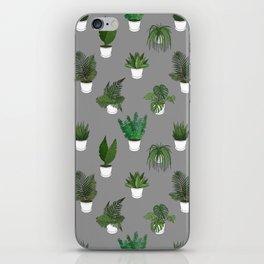 Houseplants Illustration (grey background) iPhone Skin