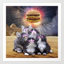 space cats looking for the burger Art Print