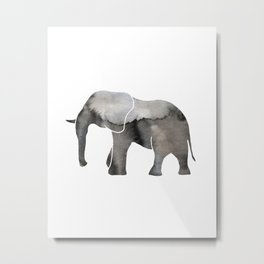 Black Watercolor Elephant Metal Print