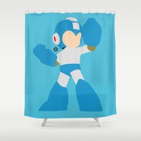 mega man Shower Curtains featuring Mega Man(Smash)Blue by ejgomez