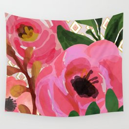 Composition watercolor flowers and rhombuses Wall Tapestry