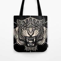 bioworkz Tote Bags featuring Eye of the Tiger by BIOWORKZ
