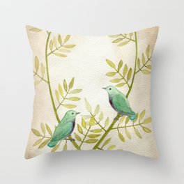 Celadon Birds Throw Pillow