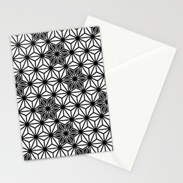 Japanese Asanoha or Star Pattern, Black and White Stationery Cards