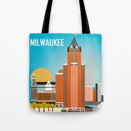 Milwaukee, Wisconsin - Skyline Illustration by Loose Petals Tote Bag