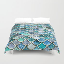 Multicolor Aqua Mermaid Scales - Beautiful Abstract Glitter Pattern Duvet Cover