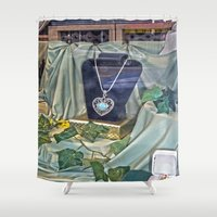 shopping Shower Curtains featuring Window Shopping by Frankie Cat