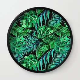 Blue and Green Ferns and Tropical Leaves Wall Clock