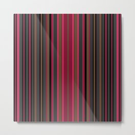 Multi-colored striped pattern in Magenta , black and brown tones . Metal Print