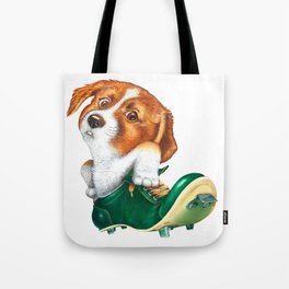 A little dog in a spike Tote Bag