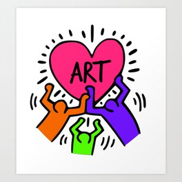 """Keith Haring inspired """"I Love Art"""" Secondary Colors edition Art Print"""