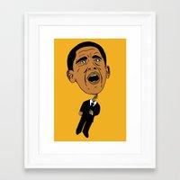 obama Framed Art Prints featuring Obama by Gnarleston