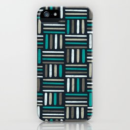 Linear Weave // Basket weave linear design in pastel colours, green, brown, white, black iPhone Case