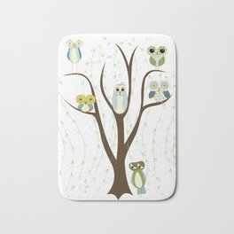 Blue Owls in a Weeping Willow Bath Mat