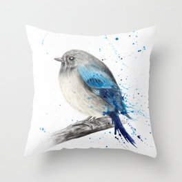 Round and Happy Bird Throw Pillow