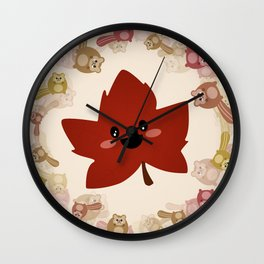 Happy Autumn leaf and the crazy chipmunk hurricane. Wall Clock