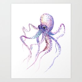 Octopus, soft purple pink aquatic animal design Art Print