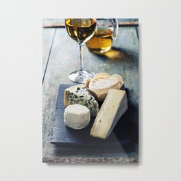 Various types of cheese and white wine Metal Print