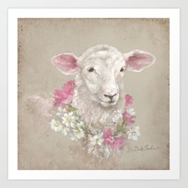 Sheep With Floral Wreath by Debi Coules Art Print