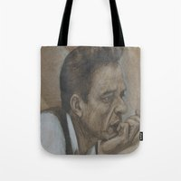 johnny cash Tote Bags featuring Johnny Cash by Tex Bigrancher