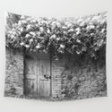Old Italian wall overgrown with roses by zenz