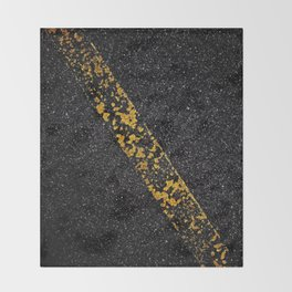 Old Yellow painted line on asphalt road Throw Blanket