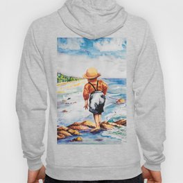 Watercolor Boy with Seagulls Hoody
