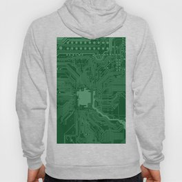 Green Geek Motherboard Circuit Pattern Hoody