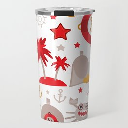 pattern with sea icons on white background. Seamless pattern. Red and gray Travel Mug