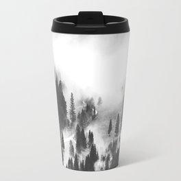 Modern Minimalist Landscape Photo Foggy Mountain Valley Pine Trees Black And White Photo Travel Mug