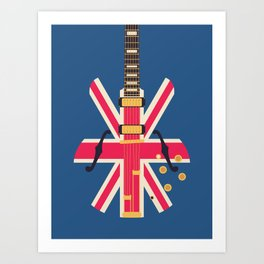 Union Jack Flag Britpop Guitar - Navy Art Print