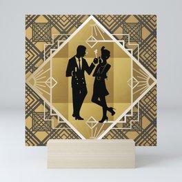 Black and Gold Roaring Twenties Silhouette Couple Mini Art Print