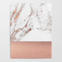 Rose gold marble and foil Poster