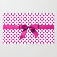 polkadot Area & Throw Rugs featuring Pink Polkadot - Ribbon by albert Junior