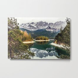 Green Blue Lake, Trees and Mountains Metal Print