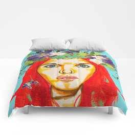 Red haired girl with flowers in her hair Comforters