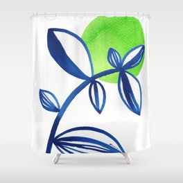 Blue and lime green minimalist leaves Shower Curtain