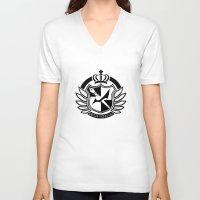 dangan ronpa V-neck T-shirts featuring Dangan Ronpa High School logo  by Prince Of Darkness