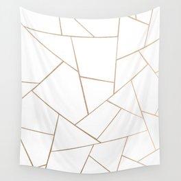Rose Gold White Geometric Glam #1 #geo #decor #art #society6 Wall Tapestry