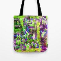 boyfriend Tote Bags featuring BOYFRIEND SWEATS(violet & lime) by Glint & Lime Art