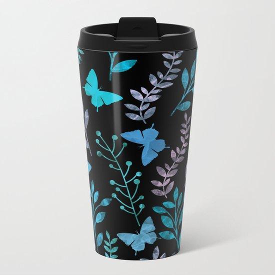 Watercolor flowers & butterflies II Metal Travel Mug