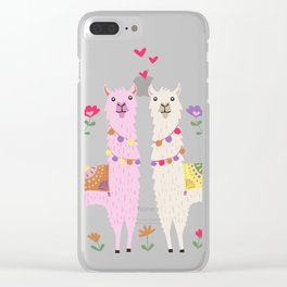 Llama Pattern Clear iPhone Case