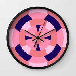 Simple geometric boat helm in blue and pink Wall Clock