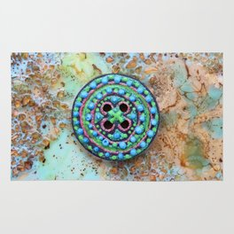 Button for happiness Rug