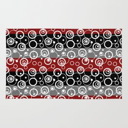 Circles and rings on striped background . Rug