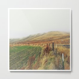 Low Hanging Clouds Over Small Hills Metal Print
