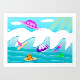 Aliens Go Surfing Art Print