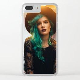Halsey long blue hair Clear iPhone Case