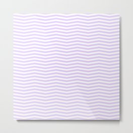 Chalky Pale Lilac Pastel and White Chevron Stripes Metal Print